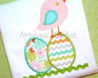 Personalized Easter Bird with Eggs Applique Shirt or Onesie Girl or Boy