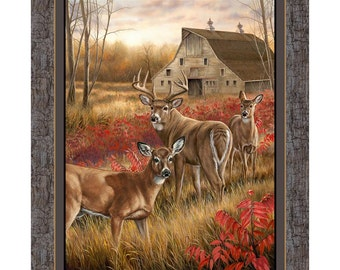 Deer Fabric Wall Panel Quilt Panel Amongst the Shadows Fabric From Springs Creative