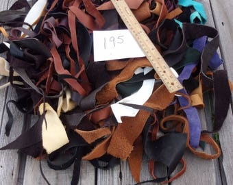 Scrap leather strips, Leather remnants, Craft leather strips