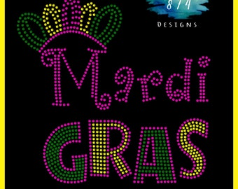Mardi Gras - Rhinestone Bling Iron-On Transfer - Applique -  GNO - Party - Carnivale
