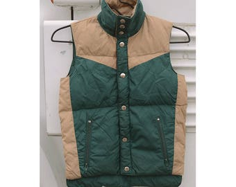 Vintage 1970s REVERSIBLE Puffy Vest - Forest Green And Beige