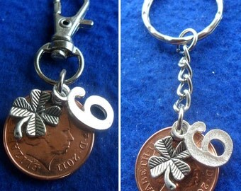 6th Anniversary Gift 2011 British Coin keyring or bag charm 6th wedding anniversary gift for a man or gift for a woman