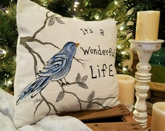 """It""""s a Wonderful Life, Bluebird, Nature, Tree, Holiday, Indoor/Outdoor, Pillows, Seasonal Decorations, Pillow Cover, No. 568"""