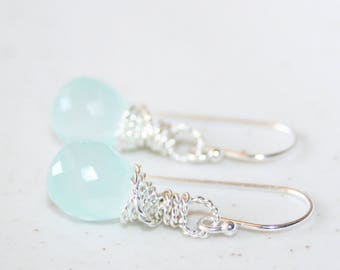 Little Aqua Blue Chalcedony Twisted Wire Dangle Earrings, Sterling Silver, Faceted Chalcedony, Wire Wrapped Drop Earrings, Bridesmaid Gift