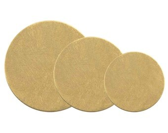SALE: Brass Disc Assortment 1.5, 1.25, 1 Inch 24 Gauge Metal Stamping Blanks 6 of Each Size 18 Blanks Total