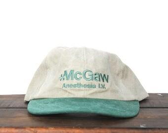 Vintage 90's McGaw Medical Center Anesthesia Unstructured Strapback Elastic Back Hat Baseball Cap