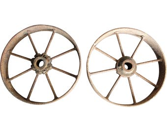 Pair of Antique Architectural Salvage Iron Farm/Wagon Wheels
