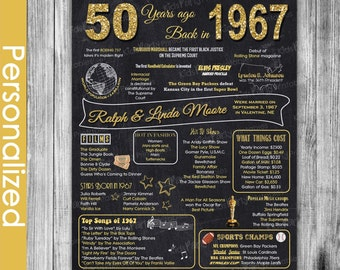 50th Anniversary Gifts for Parents, 50th Anniversary Chalkboard Poster Sign Party Decoration PRINTABLE 1967 Chalkboard Poster Ideas Marriage