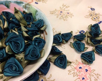 Satin Miniature Roses, Teal Green Rosettes, Satin Rosettes, Teal Green Silk Flowers