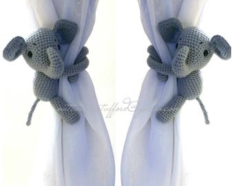 A pair of elephant Curtain Tiebacks,(Both sides)  MADE TO ORDER..