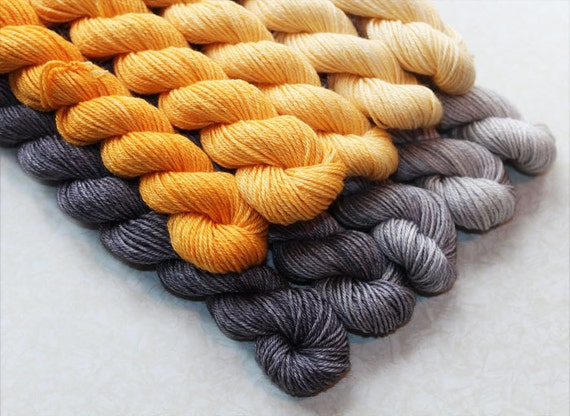 Inara Wrap Gradient Yarn Kit Hand Dyed Bfl Wool Silk