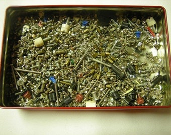 2 pds of screws-tiny screws and bolts-supplies-hardware-salvage-art-crafts-handyman-recycle-