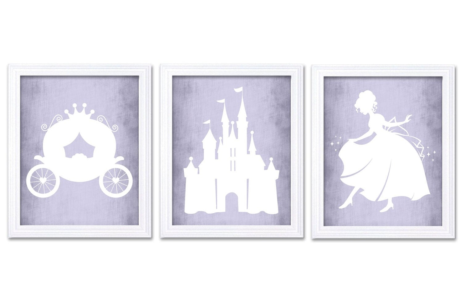 White Lilac Purple Princess Nursery Art Parchment Paper Style Set of 3 Prints Child Art Kids Room Wa