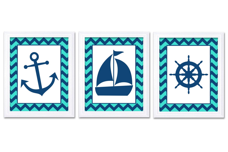Nautical Nursery Art Ocean Marine Turquoise Blue Navy Boys Art Print Sailboat Captain Wheel Anchor N