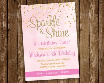 Sparkle and Shine, Glitter, Gold, Pink, Sparkle, Birthday Party Invitation - Printable or Printed with FREE SHIPPING