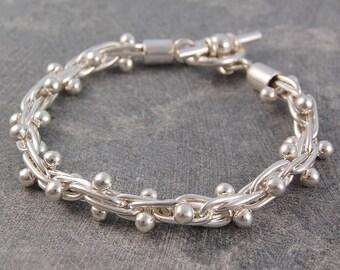 Solid Silver Ball Bracelet - Sterling Silver Bracelet - Bracelet for Her - 925 Silver Bracelet - Statement Bracelet - Chunky Bracelet
