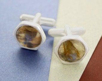 Labradorite Cufflinks, Cuff Links, Silver Cufflink, Handmade Cufflinks, Mens Gift, Gemstone Cuff Links, Modern Cuff Links, Wedding Cuff Link