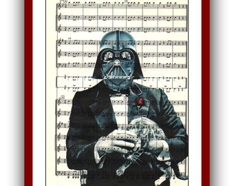 Godfather with Cat Star Wars Poster Darth Vader Star Wars Art Print Nursery 8x10 Wall Decor Home Book Page Upcycled Dictionary