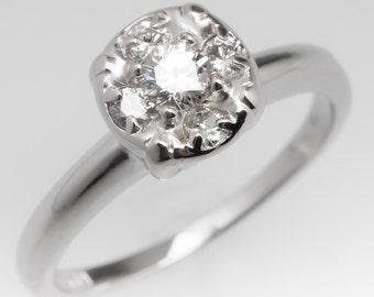 Vintage Engagement Ring - 1950's Retro Illusion Set Diamond Ring - 14K White Gold Engagement Ring WM11980