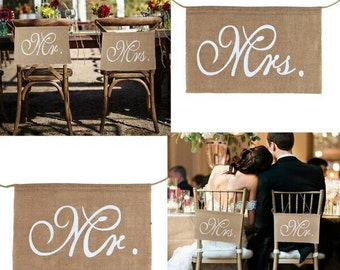 Burlap/hessian Mr & Mrs chair sign/banner/photo prop