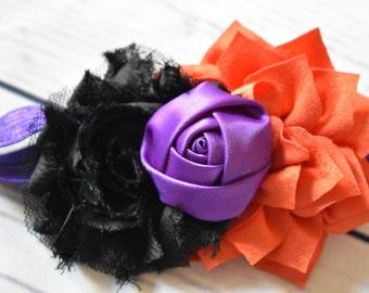 Purple Black Orange Hair Bow Head Band