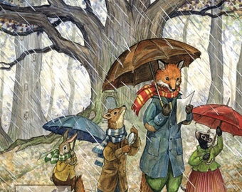 Rainy Day with Hector Fox and Friends (art card)