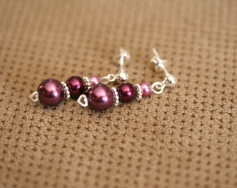 Dreamy Burgundy and Sterling Silver Heart & Post Earrings #1105