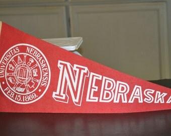 Mid Century Felt College Pennant, Nebraska