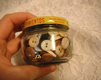 Small Jar of Vintage to Now Buttons Mixed Lot