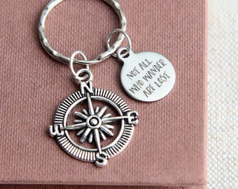 Compass Keychain, Compass Keyring, Not All Who Wander Are Lost Keychain, Travel Keyring, Quote Keyring, Traveller Accessories, Explorer Gift