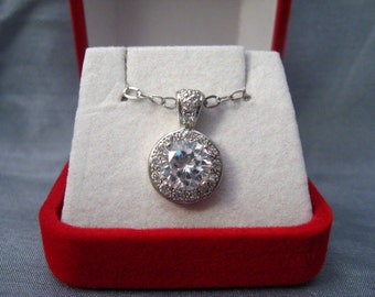 Vintage Jewelry Necklace Pendant  CZ 2.5 ctw Sterling Chain #A-4