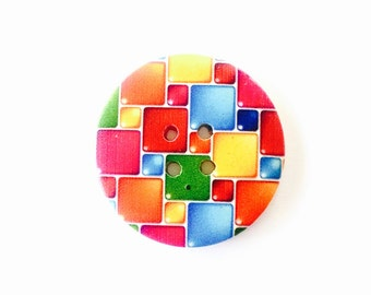 50mm wooden button featuring bright coloured check pattern