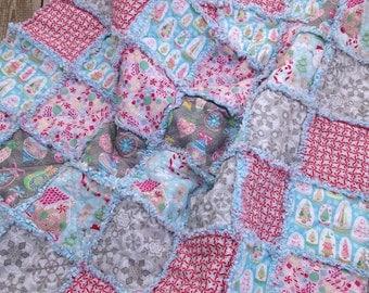 Christmas Rag Quilt, Throw Quilt, Lap Quilt, Pink, Aqua, Gray, Sugar Rush, Holiday Home Decor, Handmade 48X54 Ready To Ship, Modern,