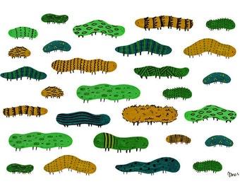 Caterpillars in Green, A5 Art Print, Caterpillar Illustration