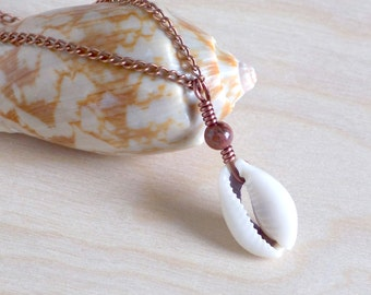 Red Jasper and Cowrie Shell Necklace, Copper Wire Wrapped Cowrie Shell Beach Necklace, Boho Shell Necklace