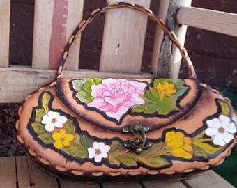 HANDTOOLED LEATHER VINTAGE Handbag Garden of Roses Handpainted Bohemian Gypsy 1970's Purse