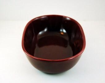 Vintage Bauer Brusche Bowl, 7 1/2 Inch Long Serving Dish, Mid Century California Pottery, Dark Red Burgundy Cinnabar Color