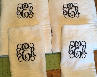 Set of monogram bath towel and hand towels