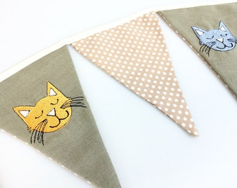 Embroidered Cat Bunting // Cat Decor // Cat Lover Gift // Gifts for Her // Home Decor // Fabric bunting // Nursery bunting // Homeware