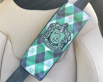 Handmade Harry Potter Slytherin Seat Belt Cover with Velcro Straps