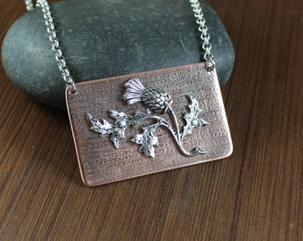 Scottish Thistle Pendant Necklace ~ Outlander Inspired