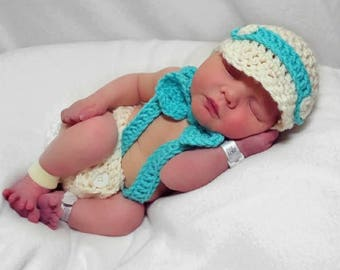 Newborn Photo Outfit Boy Hat Tie Diaper Cover Suspenders - Full Set Same Price!!!