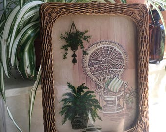 Vintage wicker frame peacock chair, rattan and fern print