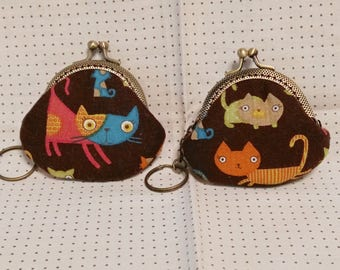 Handmade Cat Print Brown  Kiss Lock Coin Purse Coins Bag Small Pouch