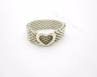 Tiffany & Co. Sterling Silver Somerset Heart Mesh Band Ring Rare Size 9