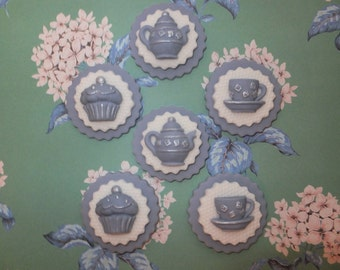 6 Vintage Shabby Chic  tea party tea pot cup bun edible cupcake toppers cake decorations