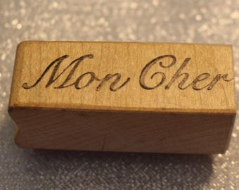 Mon Cher rubber stamp Graphic Rubber Stamp Vintage rubber stamp, Mon Cher Words, Valentine's Card Stamp, Scrapbook, Vintage Card stamp
