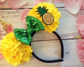 Pineapple Dole Whip Mouse Ears Headband-photo prop,vacation,Halloween costume,dress up, hair bow,summertime