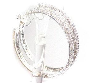 CLIP-ON Earrings Silver tone Crystal Rhinestone Double Paved Hoop Earrings 2.75 inch Hoops