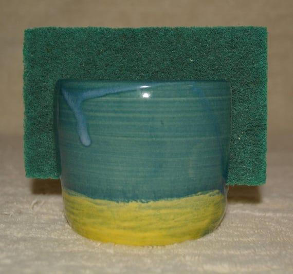 Sponge Holder, Kitchen Storage, Sponge, Stoneware, Ceramic, Peacock Blue, Yellow